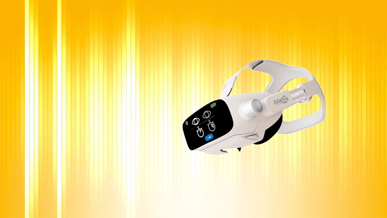 AdaptDx Pro headset with yellow and white speech bar background