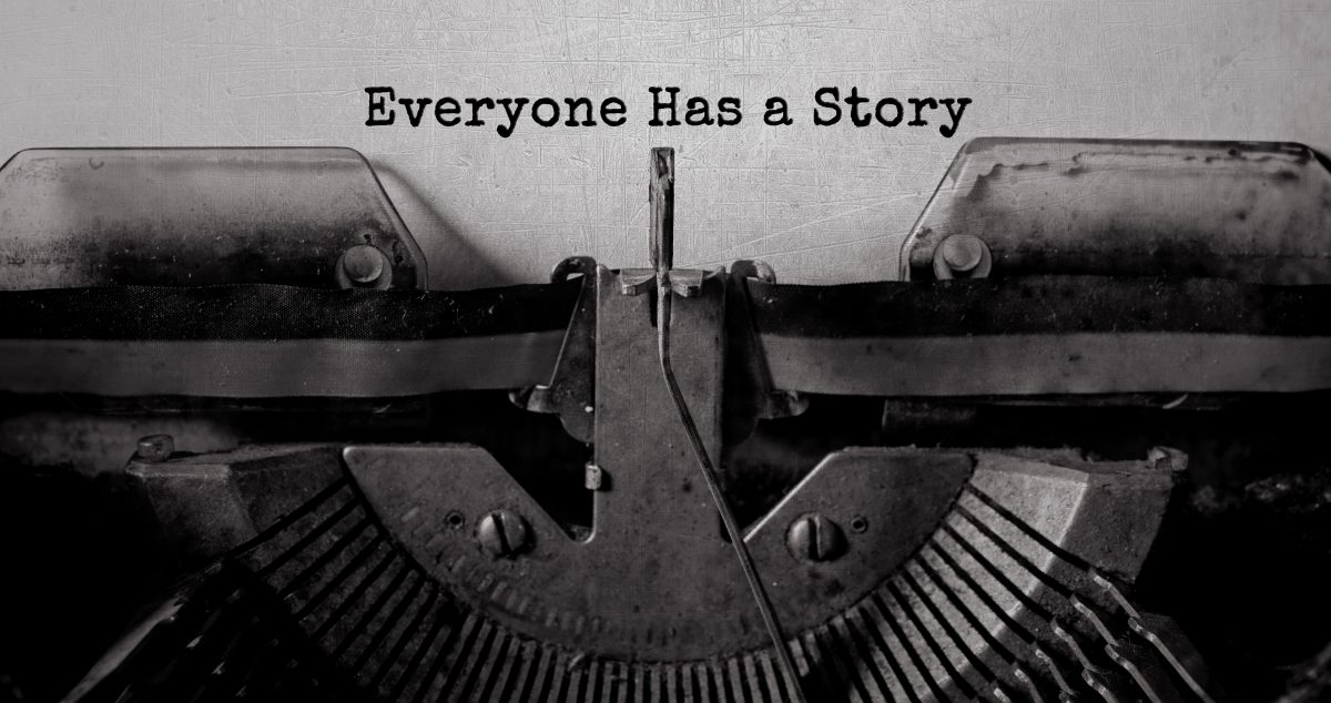 typewriter typing everyone has a story