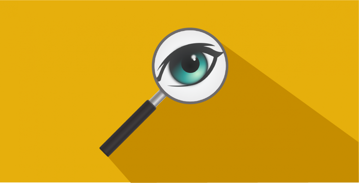 Vector image of magnifying glass magnifying an eye