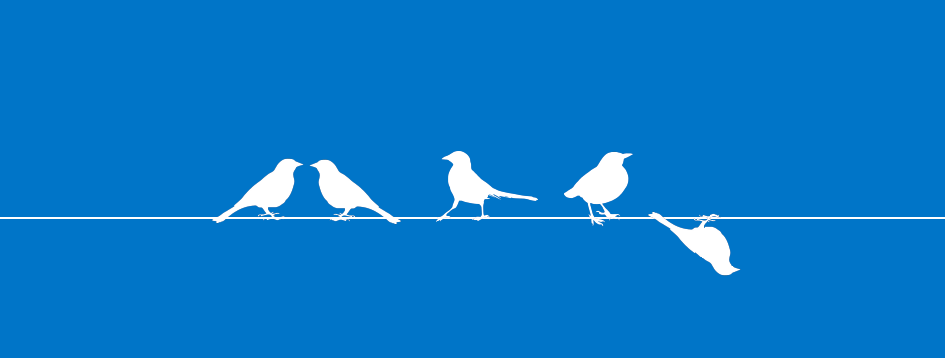 Vector image of birds in a row with one bird upside down