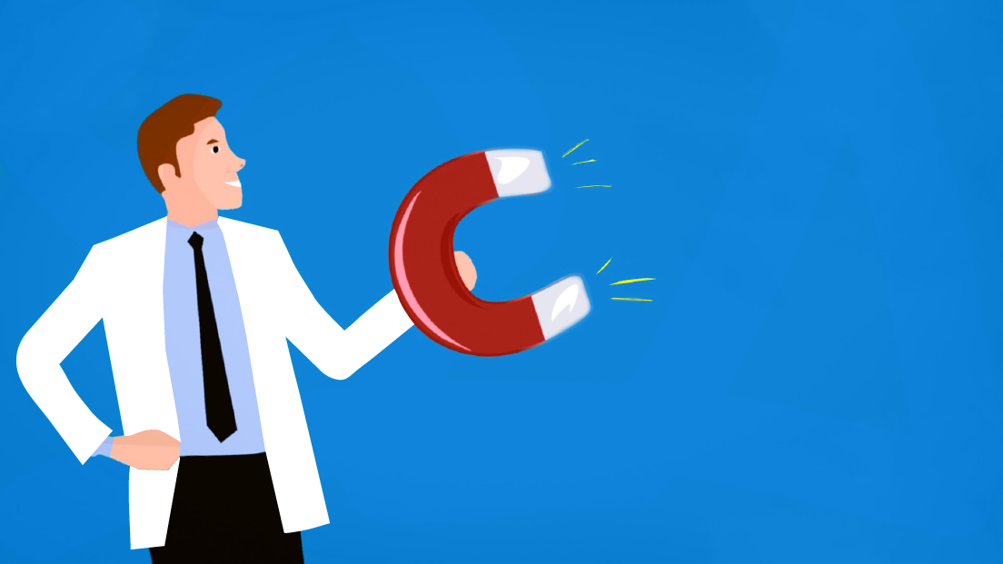 Vector of a doctor holding a giant magnet